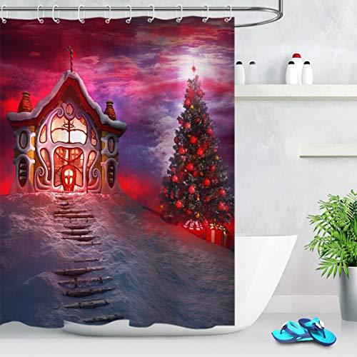 oooooo Roter Weihnachtsbaum und Weihnachtsmanns Haus Duschvorhang Badezimmer Stoff