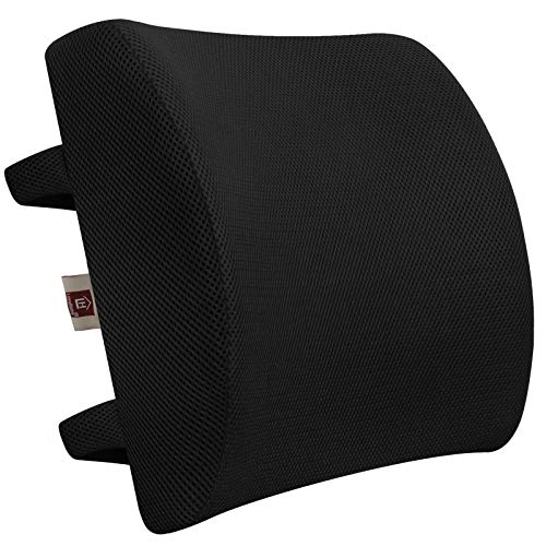 LOVEHOME Lumbar Support Pillow for Chair and Car, Memory Foam Back Cushion for Back Pain Relief - Ideal Back Support for Office Chair, Computer, Carseat, Gaming Chair, Recliner (Black)