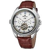 Excellent Relojes de Hombres de Negocios Deportes Reloj automático a Prueba de Agua Reloj de Pulsera mecánica con Correa de Cuero,A02