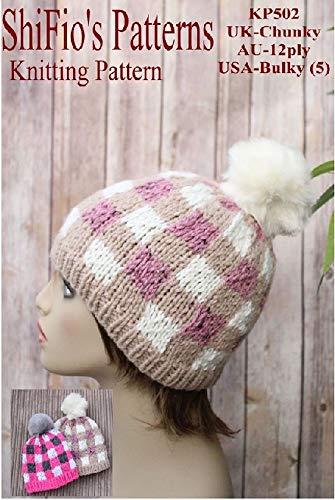Knitting Pattern - KP502 - ladies & childs plaid beanie (English Edition)