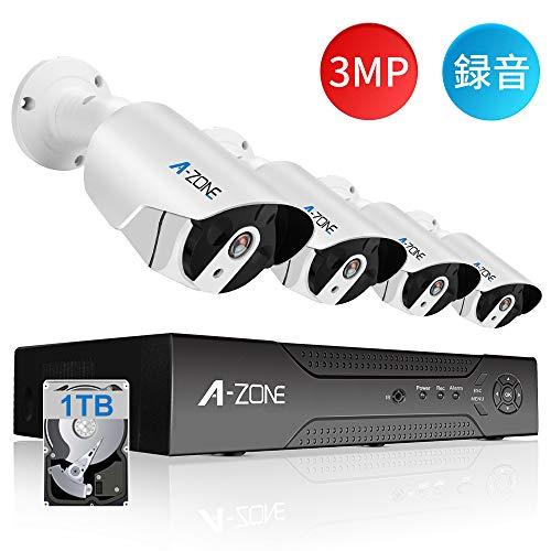 【音声録画】A-ZONE 300万画素タイプ POE給電カメラ 防犯カメラ 監視カメラ ハイビジョン 1TBHDD内蔵 4ch IP67防水防塵 赤外線 動体検知録画 最大8TB対応(3MP録音カメラ4台+ 1TB HDD)