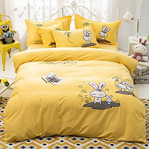 GGFHH Duvet Cover Set 100% Washed Cotton Ultra Soft Set 4 Pieces (1 Duvet Cover + 1 Bed sheet + 2 Pillow Cases) Microfiber Comforter Cover with Zipper Closure