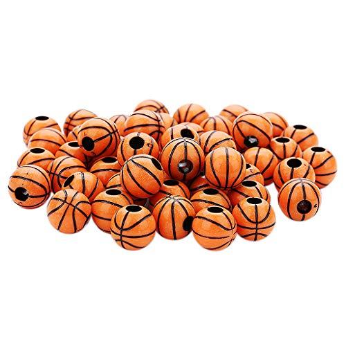 chiwanji Granos de Baloncesto de Acrílico de Gran Agujero de 50 Piezas para Joyería de Pulsera de Encanto Europeo