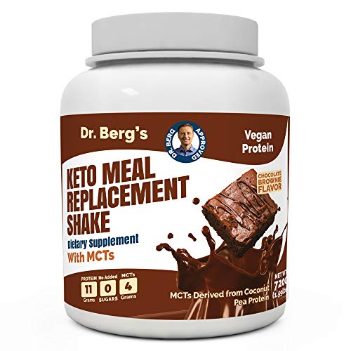 Dr. Berg's Meal Replacement Shake with MCTs & BCAAs, Plant Based Protein, Zero Added Sugars – Delicious Creamy Chocolate Brownie Flavor, 11 Grams of Protein, 4 Grams of MCT, 1.55 Pounds