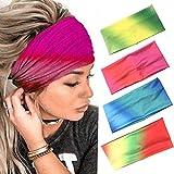 Zoestar Boho, diademas tejidas para yoga rojas, turbantes, bufandas para la cabeza, elegantes bandas elásticas para el pelo para mujeres y niñas (paquete de 4)