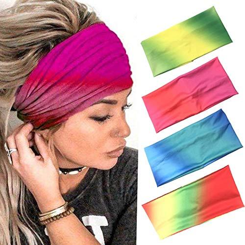 Zoestar Boho Batik-Stirnbänder Rot Yoga Kopf Wraps Wide Turban Kopftücher Stilvoll Elastische Haarbänder für Frauen und Mädchen (4 Stück)