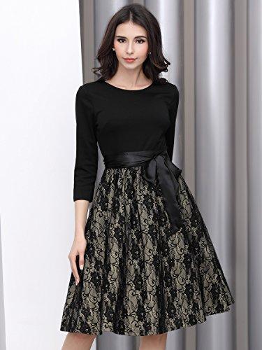 Miusol Elegant Vintage Spitzenkleid 3/4 Arm Hochzeit Brautjungfer Schleife Abendkleider - 5