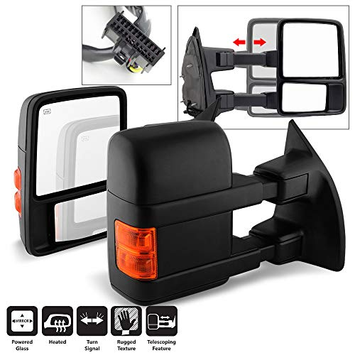 Acanii - Telescoping Power+Heat+Signal Towing Side Mirrors Driver + Passenger For 2008-2016 Ford F250~F550 Super Duty