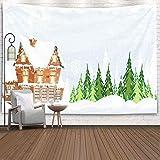 Christmas Tapestry, Home Christmas Theme Tapiz para colgar en la pared Tapiz de nieve Cabaña con una chimenea humeante Entre madera de pino Idílico Navidad Año nuevo Invierno Interior Decoraciones Hog