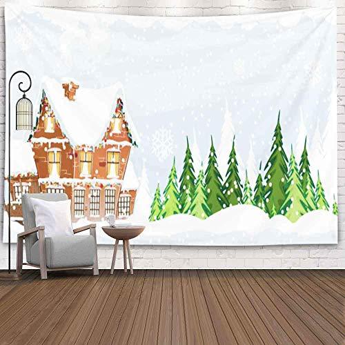 N\A Christmas Tapestry, Home Christmas Theme Wandbehang Tapisserie Snow TapestryCottage mit einem rauchenden Schornstein unter Pine Wood Idyllic Weihnachten Neujahr Winter Indoor Dekorationen Home