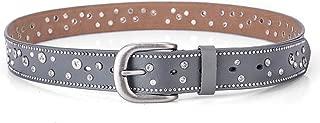 ZJSWIN Fashion trend ladies belt leather rivet rhinestone inlaid pin buckle belt casual wild pants belt women