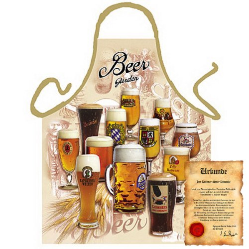 bedrukte fun grill schort - motief: Beer Garden - leuk grill kookschort Kerstmis motief schort klederdracht Kerstman Keuken