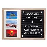 Gadgy  Letter Board y Marcos de Foto en uno | Tamaño 52,2 x 37,7 x 2 cm | Con 170 Letras, Símbolos y Números Blancas