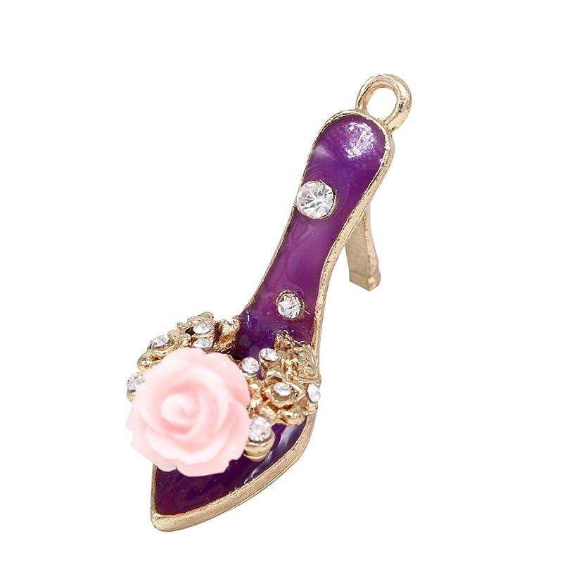 Creative DIY Rose Purple Lady Sandal High Heel Shoe Charms Pendants Wholesale (Set of 3) MH174