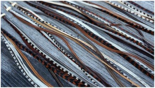 Grizzly-Extensions Lot de 5 extensions plumes individuelles longues - Tons naturels (type : cognac) - (micro anneaux pour cheveux noirs).