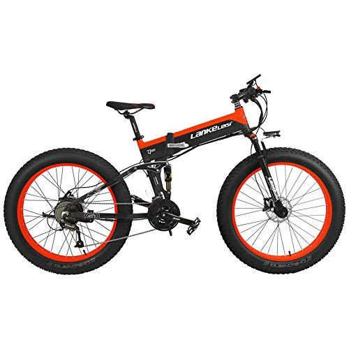 T750Plus 27 Speed 26*4.0 Fat bicicleta eléctrica plegable 500W 48V 10Ah batería de litio oculta, suspensión completa de la bicicleta de nieve (Black Red Standard, 500W+1 batería de repuesto)