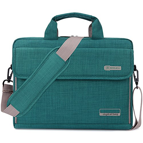 BRINCH Laptop Bag Oxford Fabric Portable Notebook Messenger Bag Shoulder Briefcase Handbag Travel Carrying Sleeve Case w/Shoulder and Luggage Strap for Men Women Compatible 17-17.3 Inch Laptop, Green