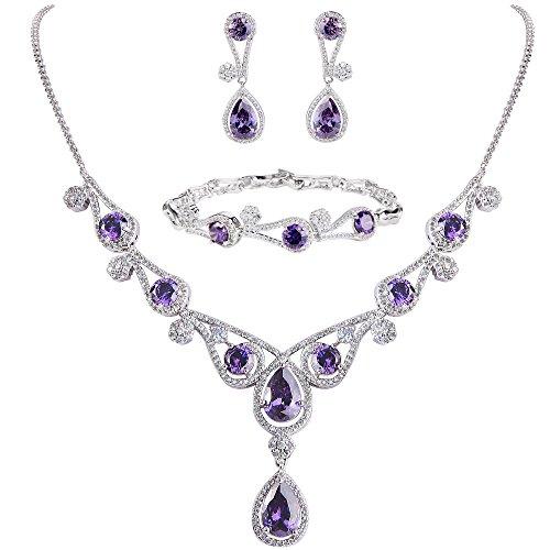 EVER FAITH Women's Purple CZ Hollow-Out Teardrop Wedding Banquet Necklace Earrings Bracelet Set Silver-Tone