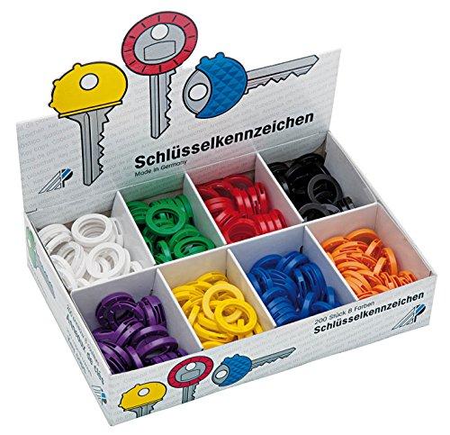 Wedo 2628008 Schlüsselkennringe, flexibles Weichplastik, 200 Stück im Display, 24 mm, farbig sortiert