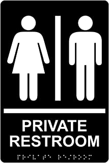 Private Restroom Sign, ADA-Compliant Braille and Raised Letters, 9x6 inch White on Black Acrylic with Adhesive Mounting Strips by ComplianceSigns