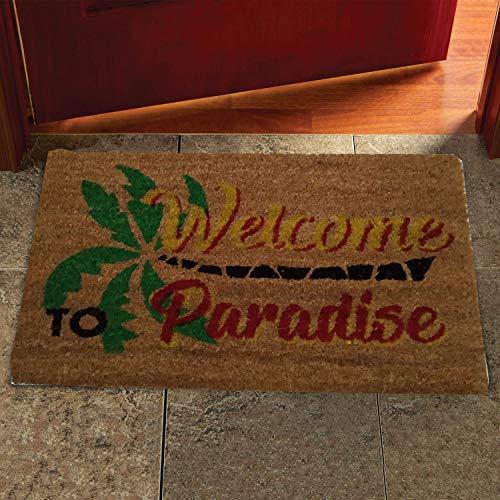 COMERCIAL CANDELA FELPUDOS Y ALFOMBRAS Felpudo para Puerta de Casa de Fibra de Coco Estampado de 15 mm Antideslizante, Diseño Welcome To Paradise 40x60