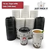 [100 Sets - 16 oz. With Lids] PREMIUM Paper Hot Coffee Cups with Lids - Resealable Lids - Leak Free To Go Disposable Hot Beverage