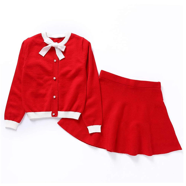 [CAIXINGYI]ファッション 秋 無地 セット 長袖 セーター カーディガン ドレス 少女 可愛い 蝶結び ガールズ カジュアル 子供服