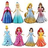 8 unids / Set Modelo de Anime Disney Magic Clip muñecas Vestido Princesa Estatua Blancanieves Elsa Anna PVC Figuras de acción Juguetes Regalo Alrededor de 9 cm