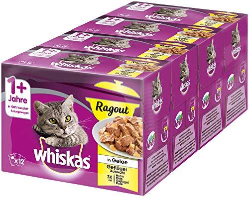 Whiskas 1 + Katzenfutter Ragout – Geflügel-Auswahl in Gelee – Abwechslungsreicher Geschmack durch verschiedene Geschmacksrichtungen – 48 Portionsbeutel à 85g