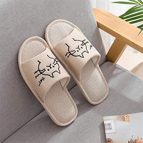 DEMXYA Mujer Moda casa Zapatos Piso Confort Hembra Pareja Estilo Interior Mujeres Suave casa Plana Gato Zapatillas algodón Invierno Caliente (Color : Beige Man, Shoe Size : 11.5)