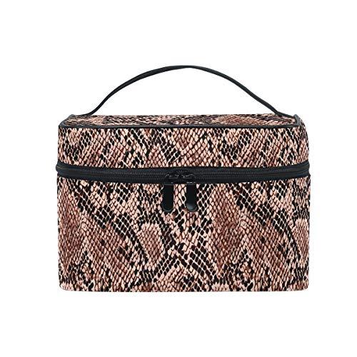 HaJie - Bolsa de maquillaje de gran capacidad, organizador de piel de animal con estampado de serpiente, portátil, bolsa de almacenamiento de artículos de tocador para mujeres y niñas
