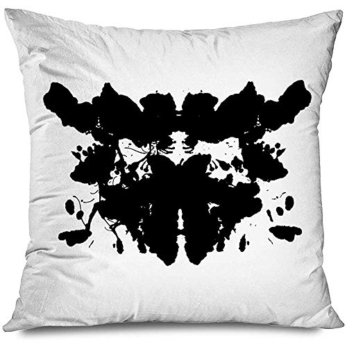 Aoyutiy Decoratieve kussensloop Aquarel Blot Rorschach Test Diagnostic inkblot Abstract Ink Projectie therapie Black Zipper kussensloop