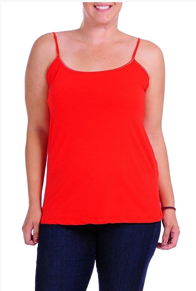 JKC USA Plus Size Women's Camisole Built-in Shelf Bra Adjustable Spaghetti Straps Tank Top ST-001X