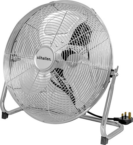 Schallen Chrome Silver Metal High Velocity Cold Air Circulator Adjustable Floor Fan with 3 Speed Settings (14')