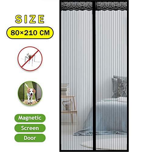 Magnetische vliegenhor deur balkondeur 80 x 210 cm, muggengordijn magnetisch gordijn, handen vrijlaten, eenvoudige montage zonder boren, laat frisse lucht in