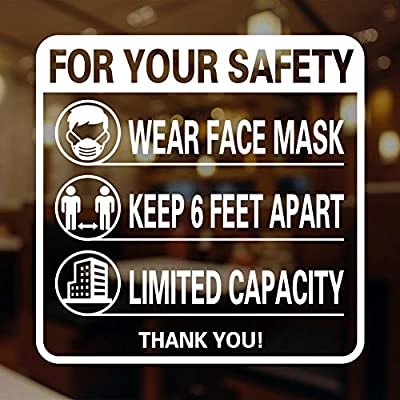 """FaCraft Face Mask Window Sticker, 9.8"""" Face Mask Required Social Distancing Decal for Wall Window Any Smooth Surface"""