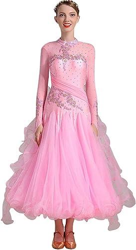 LRR Robes De Danse De Salle De Bal De Femmes Douces Valse Robe De Compétition De Tango Valse Moderne, Costume De Perforhommece De Broderie à Manches Longues (Couleur   rose, Taille   XXL)