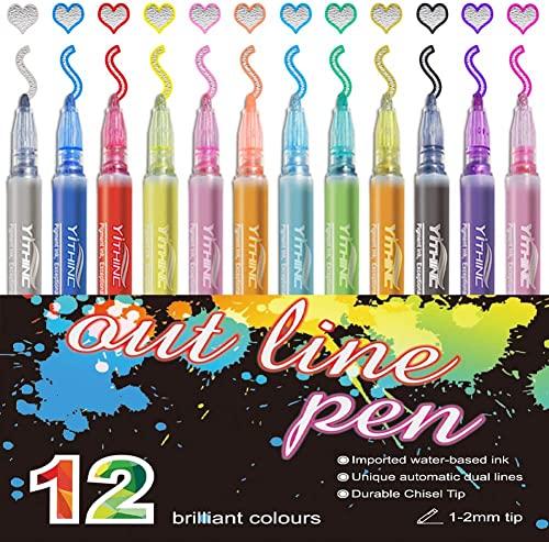 Double Line Outline Pens,YITHINC 12 Farben Outline Stift Fluoreszierender Glitter Wasserdichter Stift für Kartenherstellung, Geburtstagsgruß, Schrottbuchung,DIY Kunsthandwerk-Neues Paket