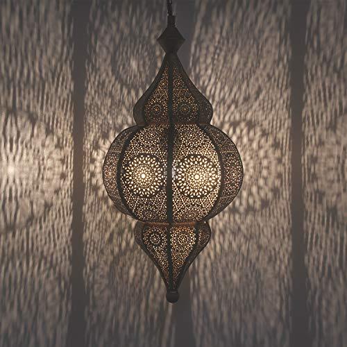 Marrakesch Hayat LN2030 - Lámpara de techo oriental con casquillo E27, aspecto de oro antiguo, para efectos de luz como la de 1001 noches, artesanía de Marruecos