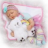 XYSQWZ 55cm Reborn Baby Doll Realista Muñeca Pesada 22 Pulgadas con Oso Juguete Magnético Chupete Manta Set para Niño Niña Niño Regalo (Ojos Cerrados) 1214