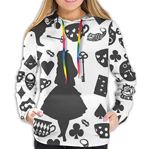 FASHIONDIY Alice im Wunderland 3D Print Frauen Hoodie Sweatshirt Pullover Hoodie Grafik Prints Pullover Gr. XL, Schwarz