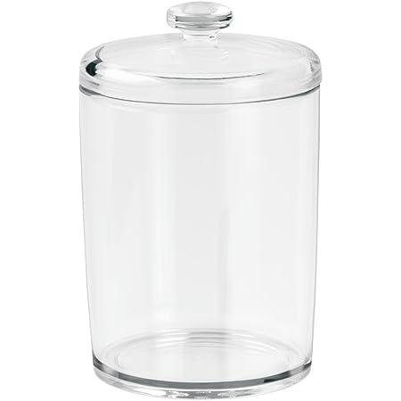 iDesign boîte de rangement pour salle de bain, petit rangement salle de bain en plastique avec couvercle, boîte rangement pour cotons ou cosmétiques, transparent