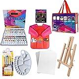24 Color Pinturas Para Niños, Juego de Manualidades,39 pcs kit pinceles con paleta...