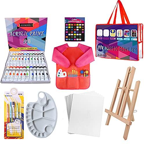 24 Color Pinturas Para Niños, Juego de Manualidades,39 pcs kit pinceles con paleta pinceles, caballete de lienzo, delantales impermeables para pintar(rojo)