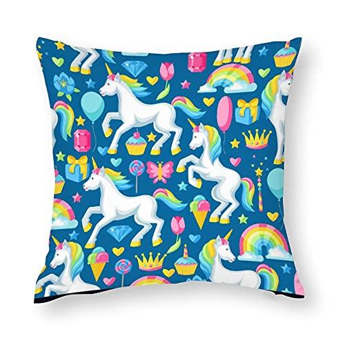 3d Rose Fundas de cojín decorativas de microfibra suave con diseño de caballo arco iris, fundas de almohada europeas para sofá dormitorio cuadrado