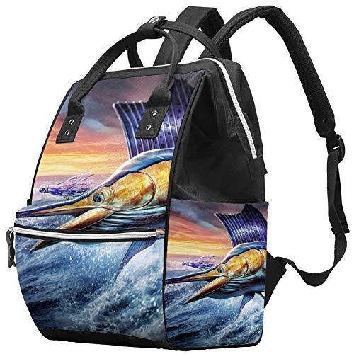 Sea Ocean Cool Sailfish Jumping Animal Pañal Bolsa Mochilas para portátil Mochila para portátil Viaje Senderismo Mochila para Mujeres Hombres