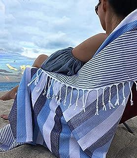 Aysesa Luxury 30% Thicker Turkish Beach Towel with Hidden Pocket 100% O'ECO-TEX Cotton Lightweight Quick Dry Peshtemal - D...