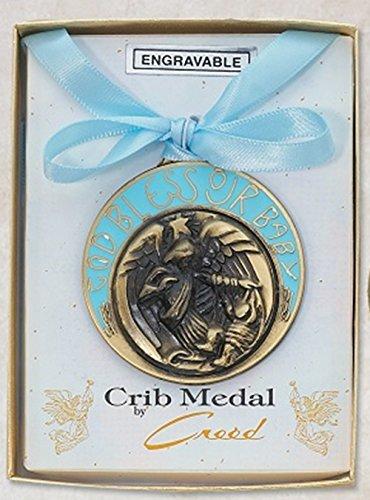 Bronze Toned Catholic Blue Baby Boy Baptism Crib Medal Gift, 2 inch