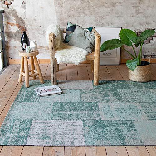 FRAAI | Home & Living Vintage Patchwork Teppich – Dreams Mint/Türkis, hellblau, meeresblau, Orientteppich, super weich, pflegeleicht, hoher qualität, rechteckig, Baumwolle, orientalisch (160 x 240cm)