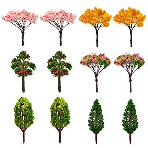 HUIANER 12 Pcs Miniature Fairy Garden Tree Plant Ornamentm, Miniature Dollhouse Pots Decor Moss Bonsai Micro Landscape DIY Craft Garden Ornament